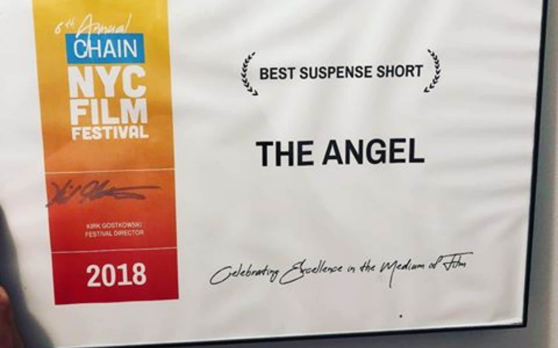 Philippe Joly - The Angel wins Best Suspense Short film at NYC Chain Film Festival
